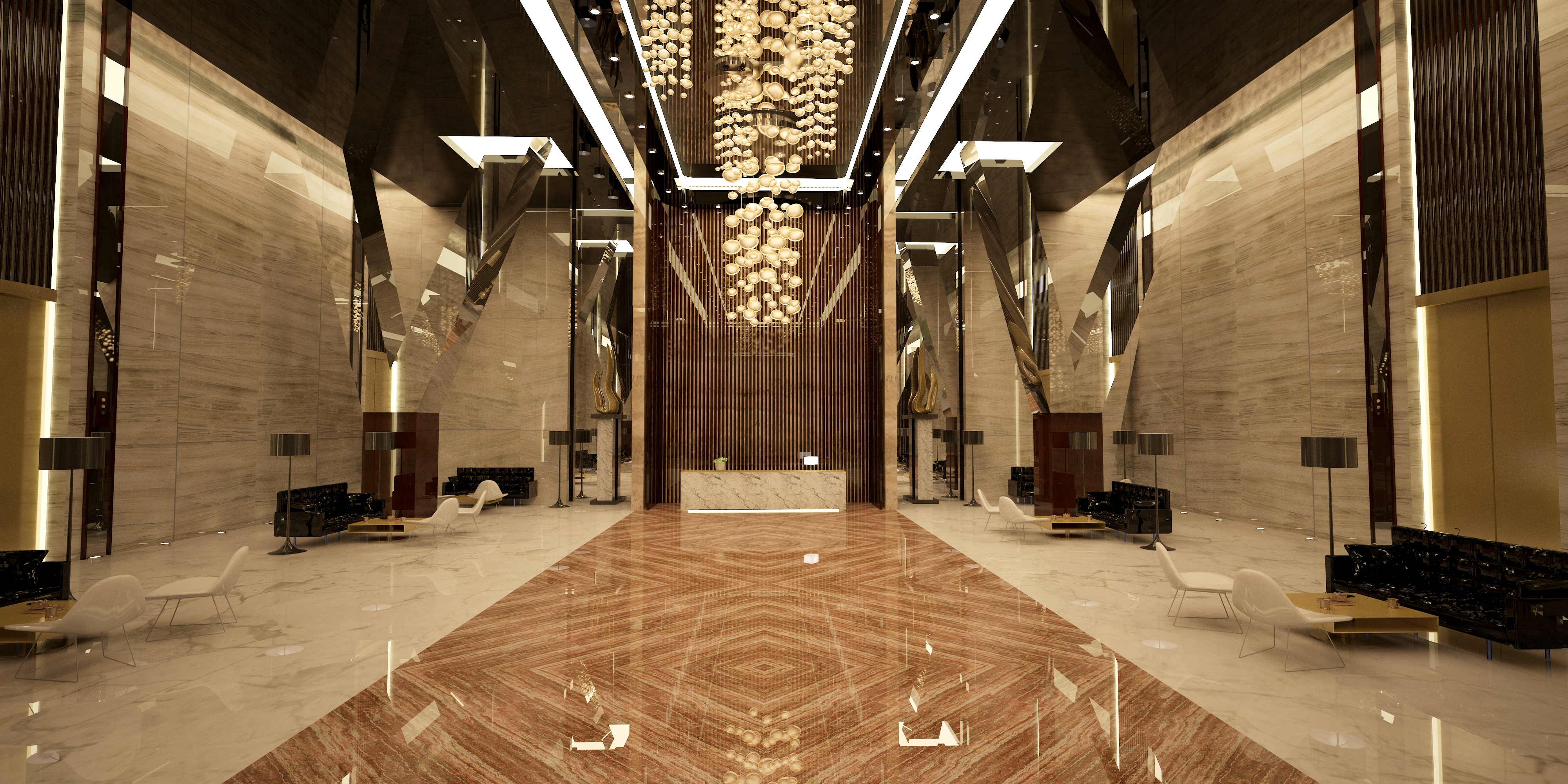 reception - reflective lacquer and mirror stretch ceilings