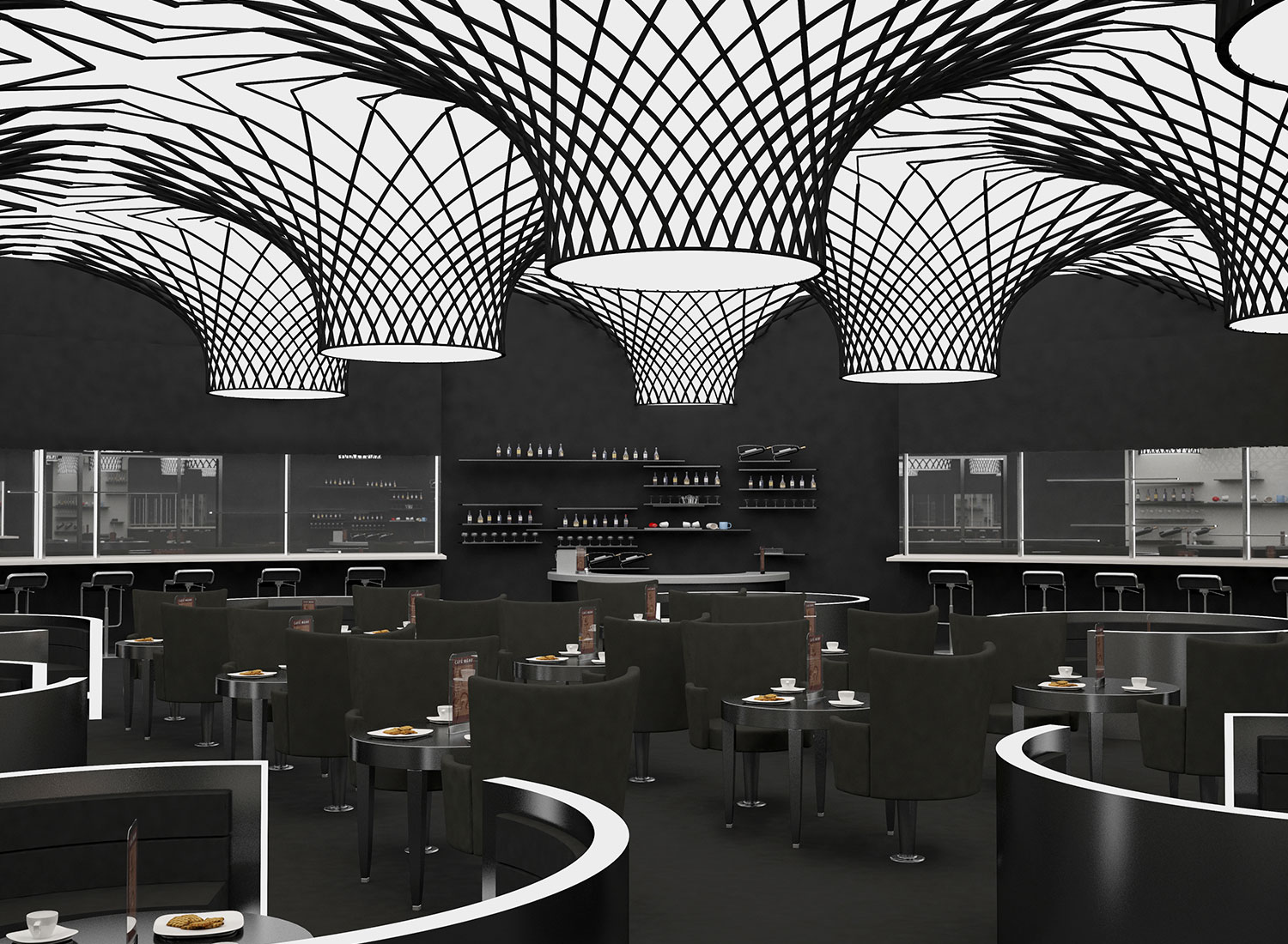restaurant - 3d stretch ceiling translucent with backlighting