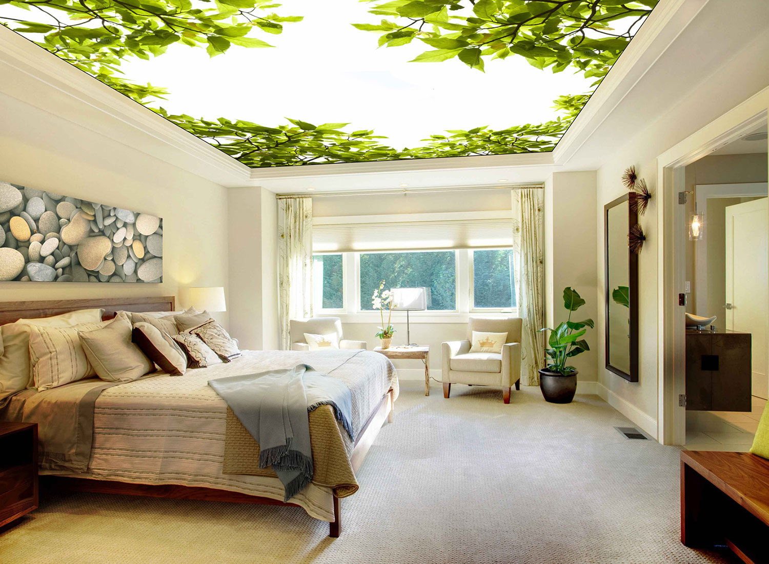 master bedroom - residence printed ceiling translucent with backlighting
