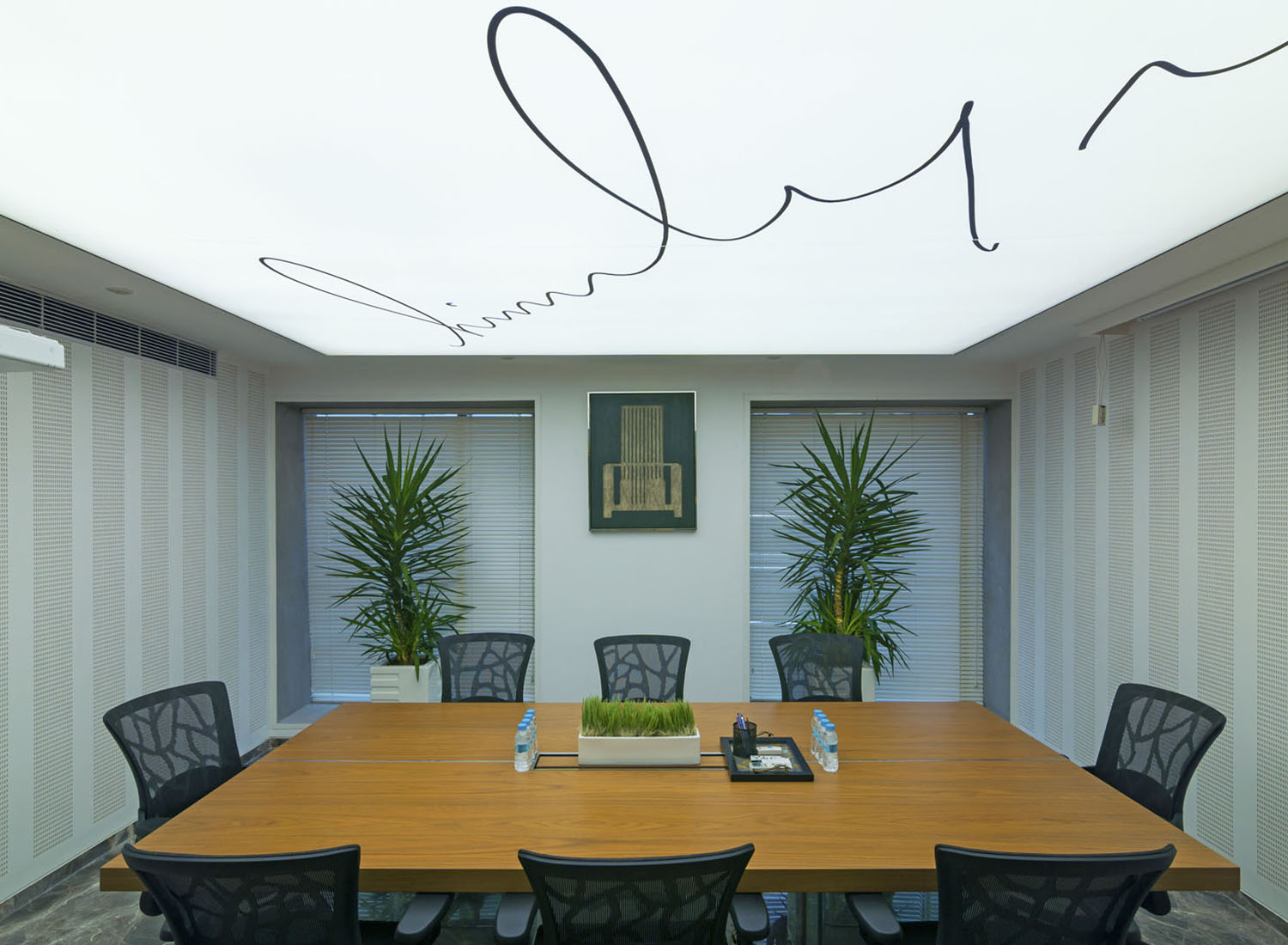 Stretch Ceiling Printed Translucent with Backlighting in Conference Room - Corporate