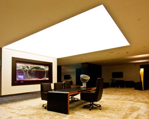 Stretch ceiling White Translucent with Backlighting for office cabins