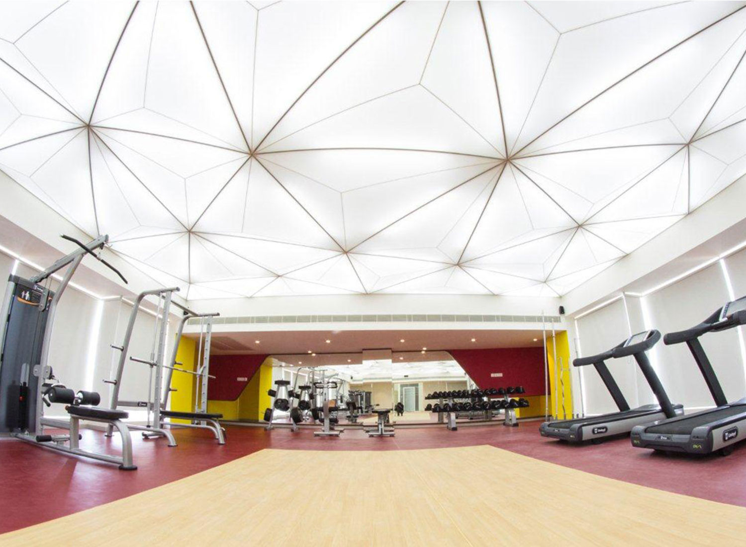Mantri - 3d Stretch Ceiling Translucent with Backlighting in Bar & Grill - Gym