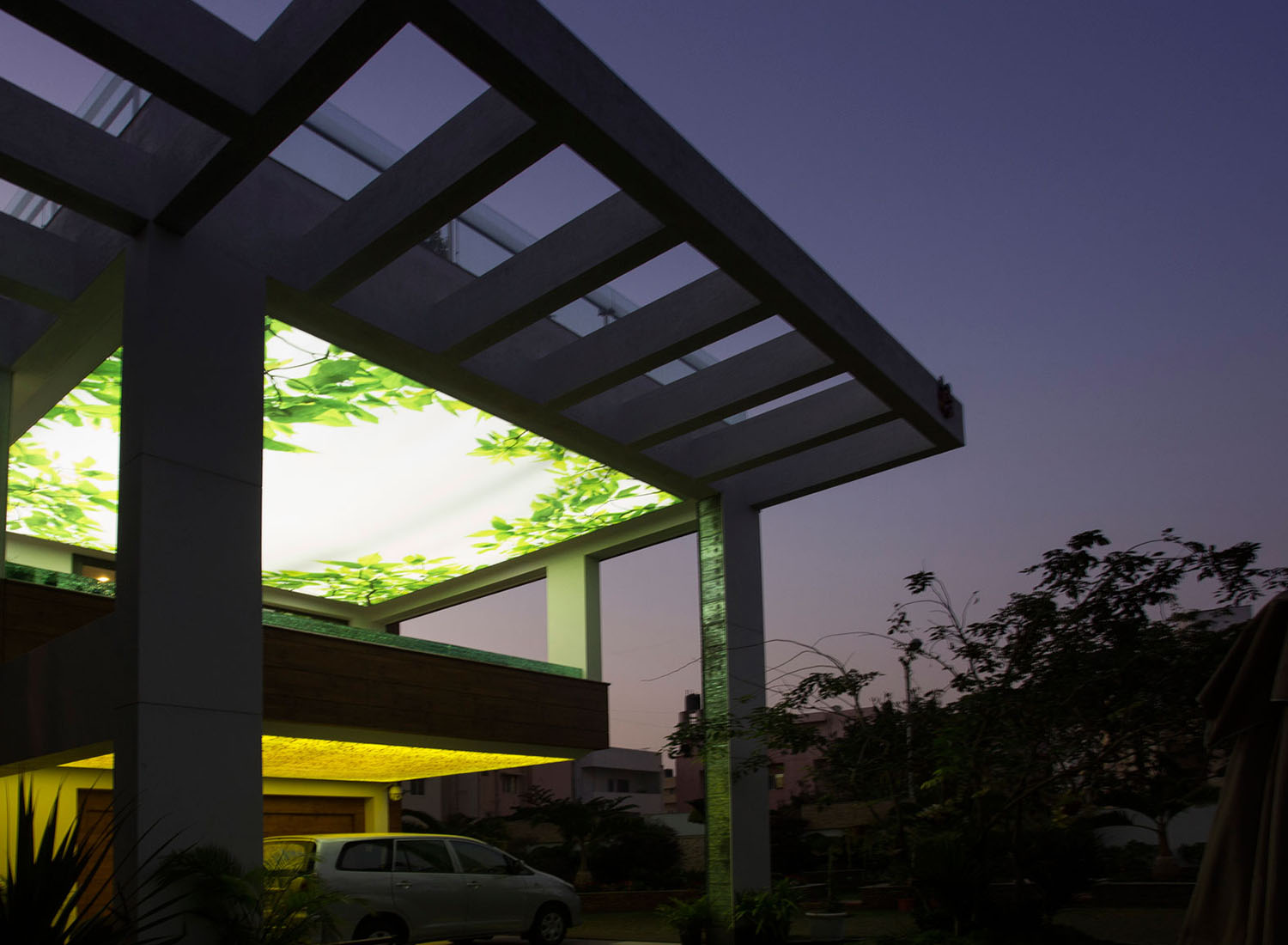 Stretch Ceiling Printed Translucent with Backlighting in Residence - Residential - Chennai