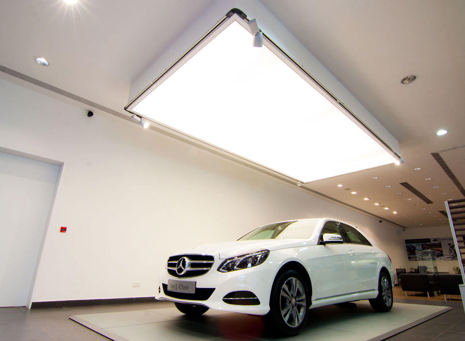 Benz - Stretch Ceiling  Translucent with Backlighting in Showroom - Showroom