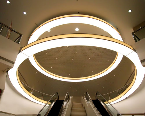 Stretch ceiling White Translucent with Backlighting in a mall
