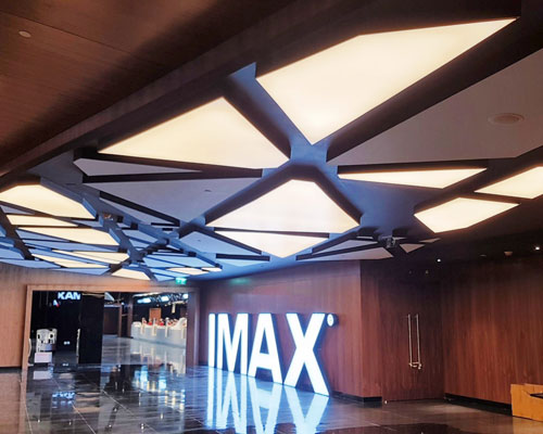 Stretch ceiling White Translucent with Backlighting in cinema theatre