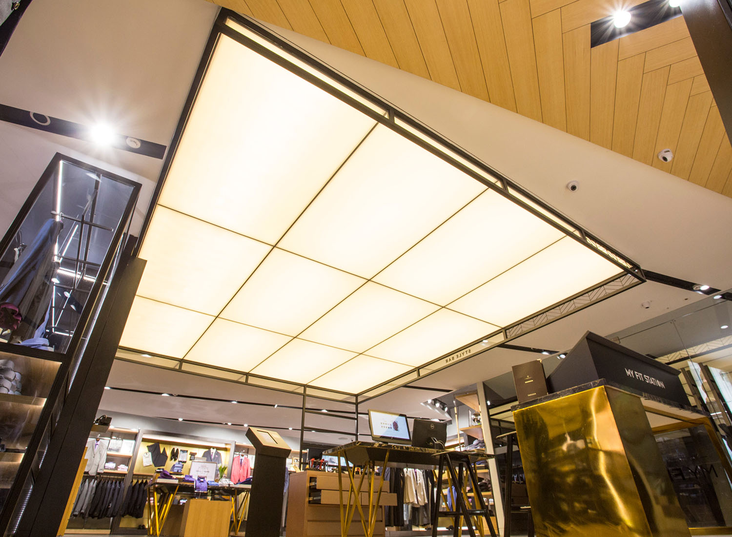 Van Heusen - Stretch Ceiling  Translucent with Backlighting in Showroom - Showroom